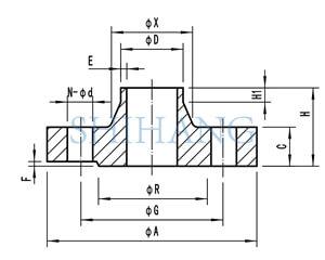 drawing of copper nickel flanges DIN 2632 DIN 2633 WELD NECK FLANGE