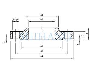 drawing of copper nickel flanges DIN 86033 Slip On FLANGE