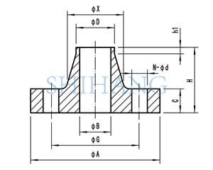 drawing of copper nickel flanges EEMUA 145 WELD NECK FLANGE